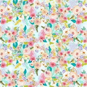 Pastel Garden Spring Floral // Light Mint (Medium)