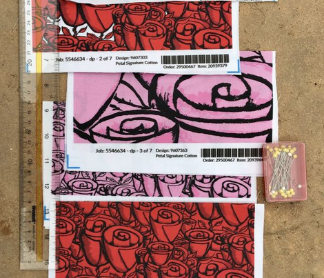 hand painted funky quirky roses, small scale, black white and red