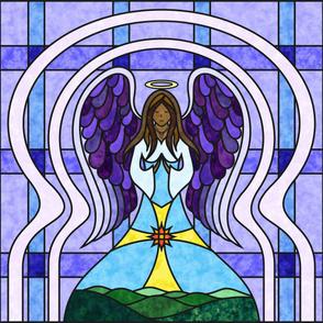 Praying Angel Stained Glass Quilt Panel - Dark Skin - Purple / Blue 42 Inch