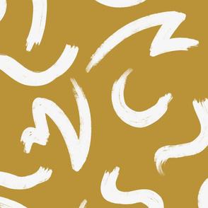 White Brushstrokes On Gold