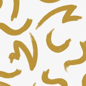 Gold Brushstrokes On White