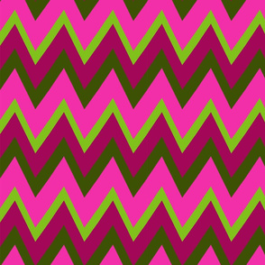 Connecting Puzzle Zig Zag Stripe - pink green