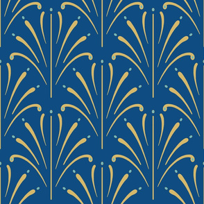 Art Nouveau Fans  Large | Classic Blue