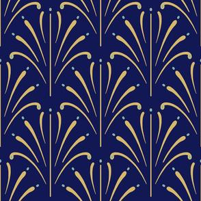 Art Nouveau Fans Large | Navy