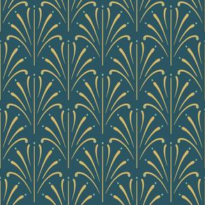 Art Nouveau Fans | Deep Teal Green