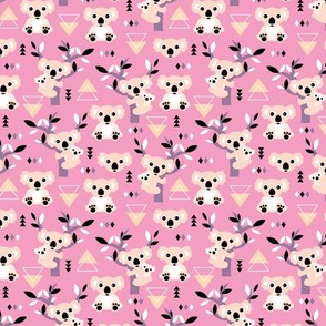 Koala winter geometric Australian animal kids fabric forest pink lilac girls SMALL