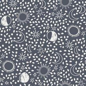 night sky fabric - sun fabric, baby fabric, nursery fabric, stars fabric, sun moon stars, - night