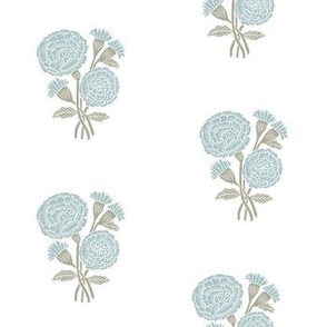 marigold fabric - indian block print inspired, block print flower, flower fabric, block print fabric, woodcut - light blue