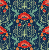art nouveau poppy red wallpaper