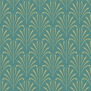 Art Nouveau Fans | Medium Cool Green
