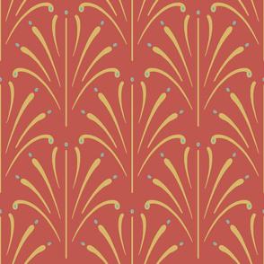 Art Nouveau Fans Large | Deep Coral