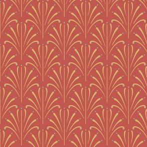 Art Nouveau Fans | Deep Coral