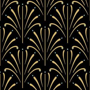 Art Nouveau Fans Large | Black