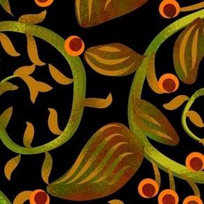 Art Nouveau Berry Vine on Black Large