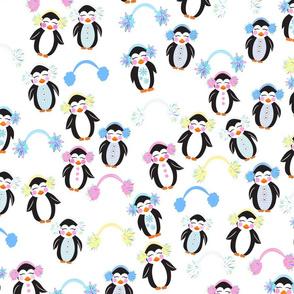 Penguin friends in earmuffs. Stay warm