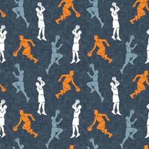 (small scale) basketball - basketball players - orange & light blue - LAD20