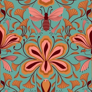 Hawks, Bees, Dragonfly, Floral Art Nouveau