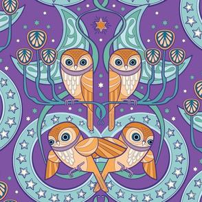 Art Nouveau Owls in purple dream