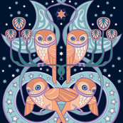 Art Nouveau Owls in Midnight