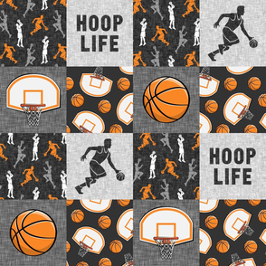 Hoop Life - Basketball Wholecloth - orange and grey sports patchwork - LAD20