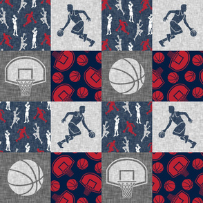Basketball Wholecloth - red, navy, grey sports patchwork   - LAD20