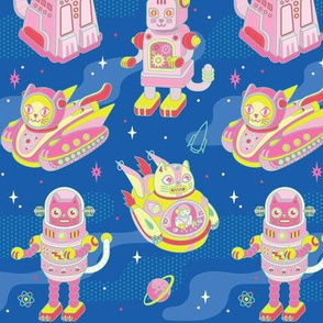 Cat Bots in Space in Electric Blue