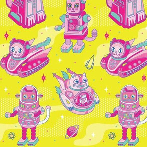 Cat Bots in Space in Electric Yellow
