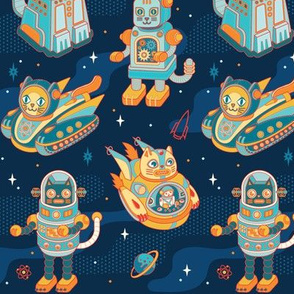 Cat Bots in Space in Blue Nebula