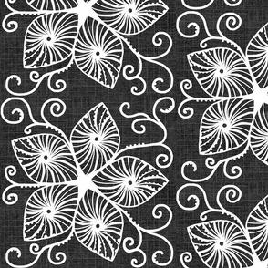 Dancing Flower Scrolls / Star Center - Charcoal Off Black