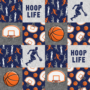 Hoop Life - Basketball Wholecloth - blue and orange sports patchwork  - LAD20