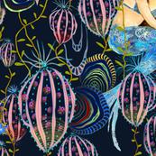mermaids in an art nouveau style