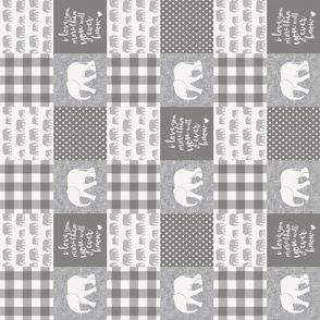 """(3"""" small scale) Elephant wholecloth - I love you more than you will ever know - patchwork - plaid - grey  (90) C20BS"""
