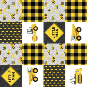 "(3"" small scale) Little Man - Construction Nursery Wholecloth - yellow and black plaid (90) - LAD20BS"