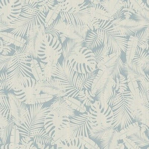 Ivory Plants on Vintage Blue / Small Scale