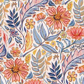 Coral, Pink and Blue Art Nouveau Floral