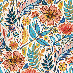 Vivid Colorful Art Nouveau Floral large