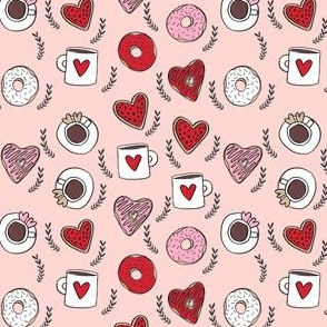 SMALL - valentines coffee // donuts and coffee fabric breakfast cafe foodie blush