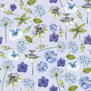 flowers all over in blue