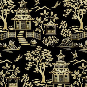 Chinoiserie Pagoda Gold and Black small