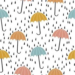umbrella fabric - umbrellas, red umbrella, umbrellas and rain, rain shower, rain - ochre