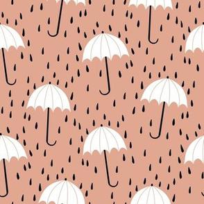 umbrella fabric - umbrellas, red umbrella, umbrellas and rain, rain shower, rain - blush