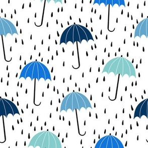 umbrella fabric - umbrellas, red umbrella, umbrellas and rain, rain shower, rain - blues
