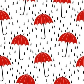 umbrella fabric - umbrellas, red umbrella, umbrellas and rain, rain shower, rain - red