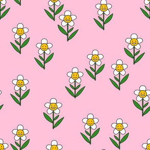 happy flower fabric - daisy fabric, daisy flower, sweet baby girl, baby girl fabric, flower power fabric, retro daisy fabric - pink