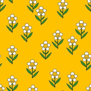 happy flower fabric - daisy fabric, daisy flower, sweet baby girl, baby girl fabric, flower power fabric, retro daisy fabric - yellow