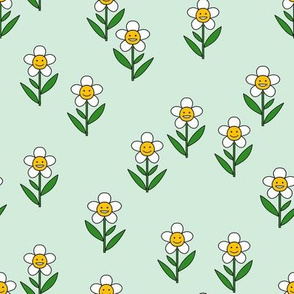 happy flower fabric - daisy fabric, daisy flower, sweet baby girl, baby girl fabric, flower power fabric, retro daisy fabric - mint