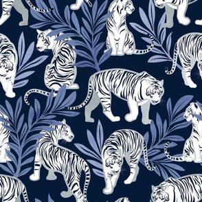 Normal scale // Nouveau white tigers // navy blue background blue leaves silver lines white animals