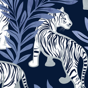 Nouveau white tigers // large jumbo scale // navy blue background blue leaves silver lines white animals