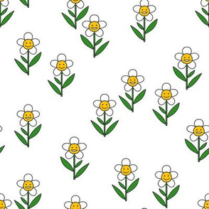 happy flower fabric - daisy fabric, daisy flower, sweet baby girl, baby girl fabric, flower power fabric, retro daisy fabric - white