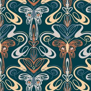 Art nouveau butterflies- navy